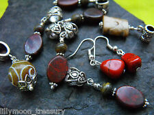 Various carved jade & red jasper pendant earrings tiger iron gemstone wicca