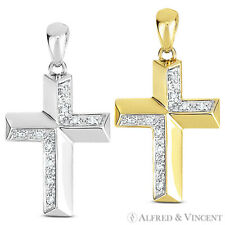 0.04ct Diamond Cross Charm Crucifix Pendant Necklace in 14k Yellow or White Gold