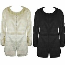 New Womens Long Sleeve Faux Fur Warm Long Ladies Jacket Over Coat Size 8 10 1214