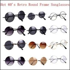 New 60s Vintage Style Retro Round Frame Sunglasses Unisex Shades Sunnies Glasses