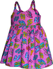 Flip Flop Tropical Cute Girls Dress Cotton 130-3763 NEW Made in Hawaii, U.S.A.