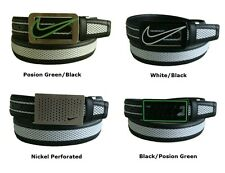 Nike Golf Swoosh Cutout Mens Mesh Inlay Reversible Belt Black White Green OSFM