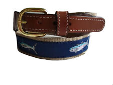 Mens Embroidered Leather Canvas Fishing Belt  Mahi Sailfish Marlin  select size