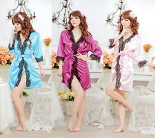 Sexy Shiny Satin Dressing Gown Bath Robe Babydoll Lingerie Nightdress 3 Colors