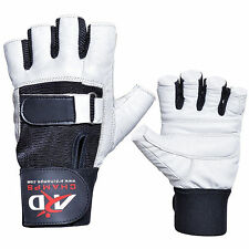 ARD Heavy Duty Weight Lifting Gloves Gym Training Leather PADDED Palm White