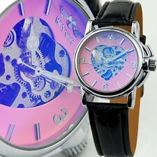 NEW Fashion Leather Skeleton Womens Automatic Mechanical Wrist Watch Heart Lady