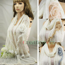 Sweet Stylish Vintage Crochet Floral Mesh Lace 3D Flower Mantilla Long Scarf New