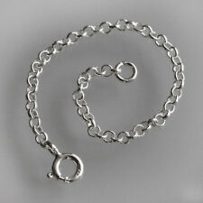 STRONG 925 Sterling Silver necklace necklet extender safety chain Bolt clasp