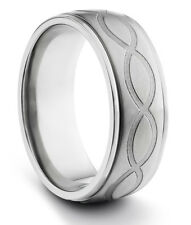 8MM Titanium Mens Brushed Wedding Band Ring w/ Engraved Infinity Design