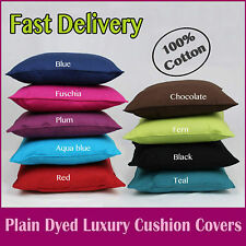 "Brand New 100% Cotton Plain Size 18"" Cushion Covers Free UK Post Fast Delivery"