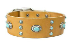 D&T High Quality Dog Collar Tan Leather - Azul