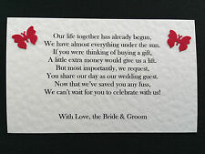 10, 25 or 50 Personalised Wedding Money Request Poem Cards Butterfly