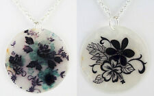Capiz Shell with Flower Painting Necklace Round 50 mm Silver Plated Pick from 5
