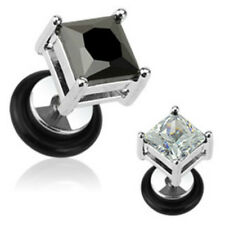 Pair of Surgical Steel Square Cut 8mm CZ Prong Fake Plug Stud Earring