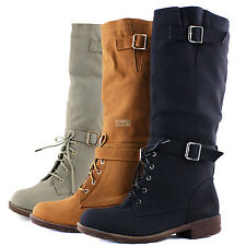 Mid Knee High Sexy Combat Lace Up Flat Heel Round Toe Buckle Cowboy Rider Boots