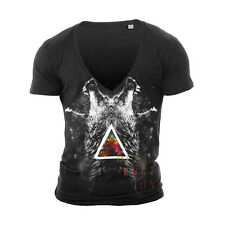DEEP V NECK WOLVES TSHIRT T SHIRT TOP NEW WHITE TOWIE GEORDIE SHORE MUSCLE VEST