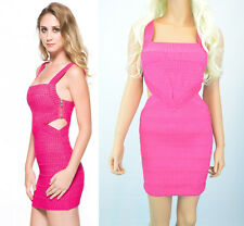 NEW Wow Couture Hot Pink Glitter Cut Outs Bodycon Bandage Clubbing Cocktail