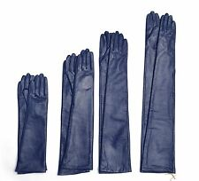 Custom made 30cm to 80cm long plain style evening leather gloves*dark blue