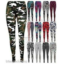 Ladies Womens Animal Print Leggings Tie Dye Effect Leopard Floral Graffiti USA
