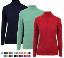 Ladies Womens New Ribbed Polo Neck Jumper Knitted Stretch Top Different Colours