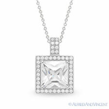 Princess Cut Micro-Pave CZ Crystal Halo Necklace Pendant in 925 Sterling Silver