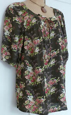 SALE NEW EX ANN HARVEY BROWN FLORAL SUMMER TUNIC TOP PLUS SIZE 16  20