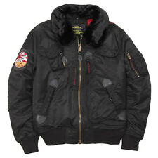 ALPHA INDUSTRIES B-15 INJECTOR JACKET WASHED BLACK XS,S,M,L,XL,2X,3X,4X,5X NYLON