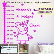 Peppa Pig Height Chart Personalised Kids Children Name Vinyl Wall Stickers pp