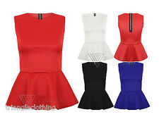 Ladies Womens Peplum Frill Fitted Top Tailored Smart Sleeveless Office Black Red