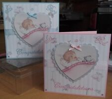 Handmade vintage Congratulations Card choice of Boy or Girl new baby