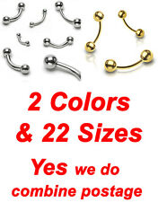 2 Colors, 316L Surgical Stainless Steel Curved Barbell Eyebrow Rings Balls
