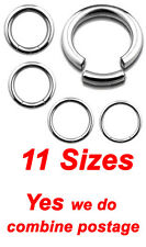 11 Sizes, 316L Surgical Steel Seemless Segment Captive Bead Lip Rings, Hoops