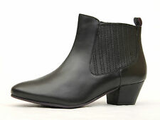 "Moshulu UK 4, 5 & 6.5 Black Leather 'Cree' Ankle Boots 1.75"" Heel (Brand New)"