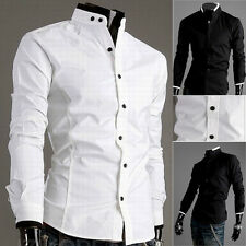 New Designed Men's Stylish Slim Fit Stand Collar Dress Shirt Casual Tops 2 Color