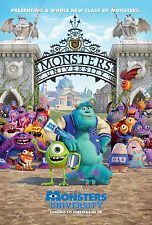 MONSTERS UNIVERSITY Movie POSTER Disney Pixar Toy Story Finding Nemo