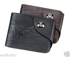 Eagle Mens Bifold Clutch Leather Wallet Secure id cards Purse New Zipper Black