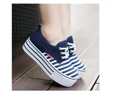 Womens Girls Retro Fashion Lace up Striped Platform Sneakers Tennis Shoes US4-8