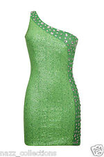 GREEN DIAMANTE EMBELLISHED FULL SEQUIN ONE SHOULDER PARTY BODYCON DRESS 8-16