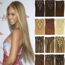 """15""""-28""""Clip In Real Remy 100% Human Hair Straight Extensions USA Compton Stock"""