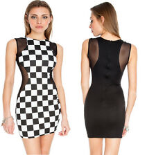 Sexy Black and white Dress with sheer mesh inserts - 3 sizes UK 8 /10 /12