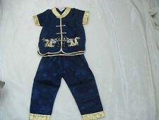 BN boys chinese costumes 2 piece set for 5-6.age navy blue with gold trimmings