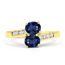 Natural Blue Sapphire & Diamond Crossover Ring in 9K Yellow Gold - Various Sizes
