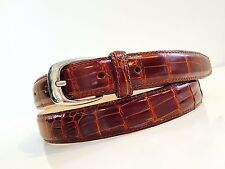 NEW REAL genuine ALLIGATOR crocodile COGNAC BROWN LEATHER BELT 42 L XL boots