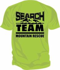 SAR - Search & Rescue: MOUNTAIN RESCUE TEAM Screen Printed T-Shirt, SAFETY GREEN