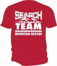 SAR - Search & Rescue: MOUNTAIN RESCUE TEAM Screen Printed T-Shirt, RED