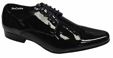 Mens Shiny Pointed Toe Patent Office Formal Casual  Smart Shoes Leather Lining