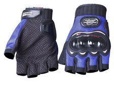 BLUE MESH FINGERLESS MOTORCYCLE BIKER RIDING GLOVES HARD KNUCKLE PROTECTOR