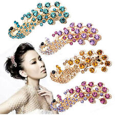Vintage Peacock Crystal Rhinestone Hairpin Hair Barrette Side Hair Clip 4 Colors