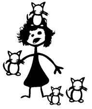 Stick figure family car vinyl decal sticker CRAZY CAT LADY hoarder funny cats