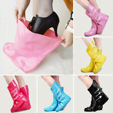 Womens Shoes Cover Candy Color Rain Boots Velcro Strip Mid-Calf Boots Overshoe